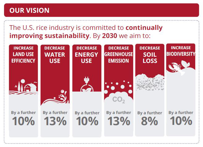 Sustainability Infographic, 2030 Goals for land, water, and energy use