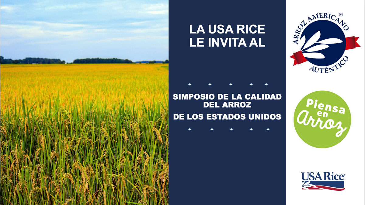 Latin-America-Webinar-Title-Slide, photo of golden rice field with dark blue text box and several logos