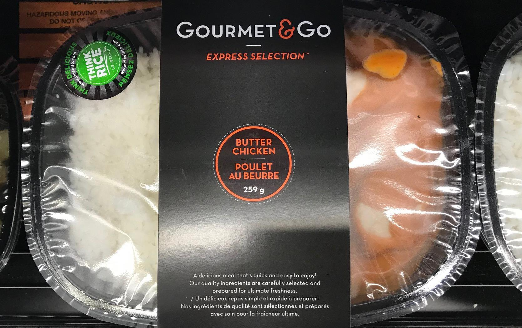 Gourmet & Go butter chicken food package with green Think Rice logo