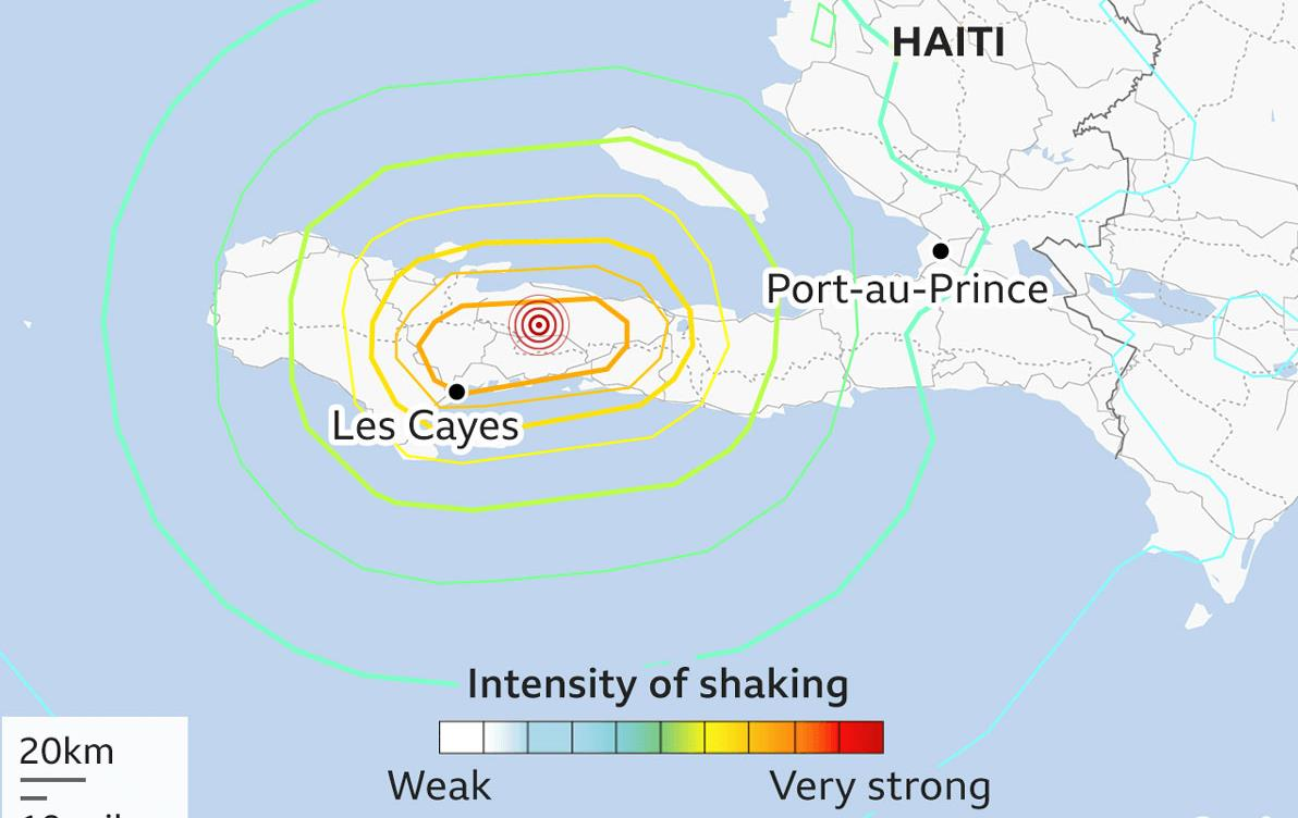 Map of the earthquake in Haiti, epicenter at Les Cayes