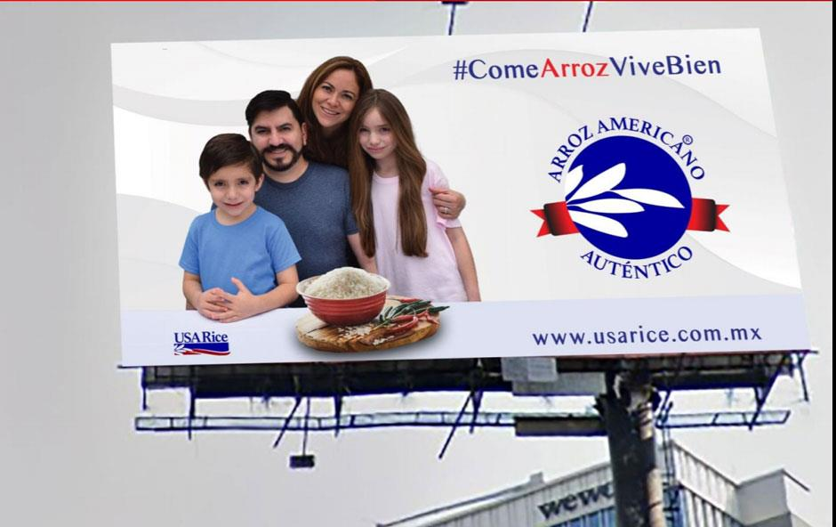 Billboard shows family of four, bowl of rice, and Made in America logo
