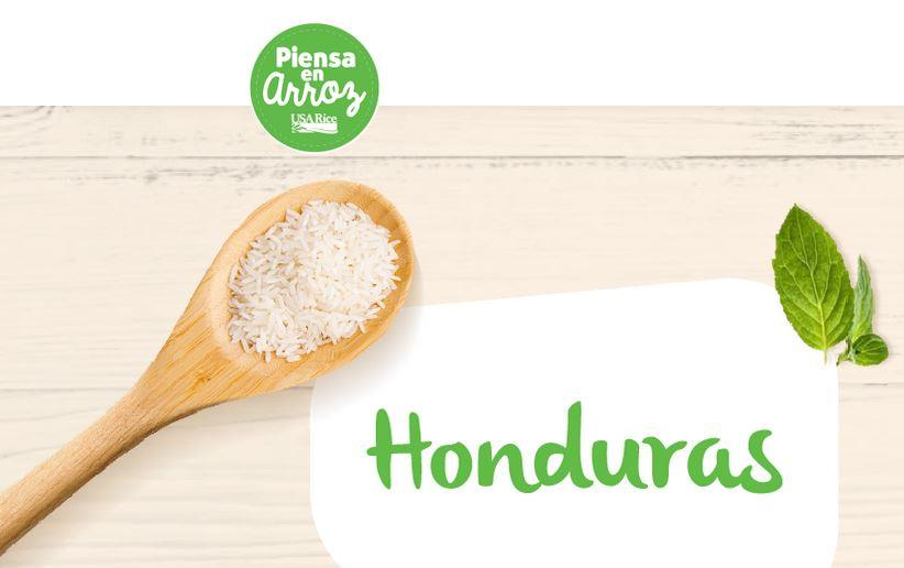 Piensa En Arroz in Honduras graphic with spoonful of white rice, quote bubble with Honduras written in green text, and green leaves