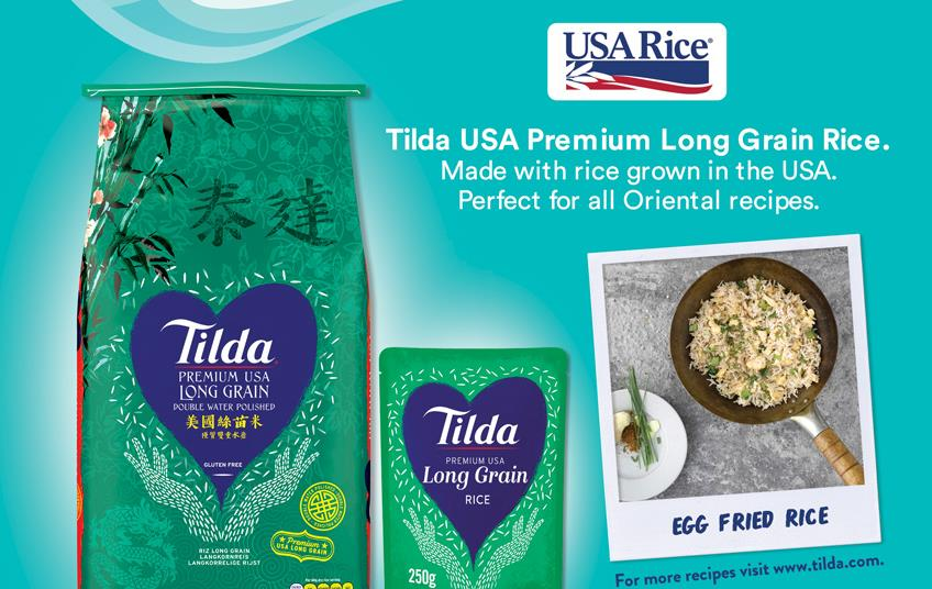 Green bags of rice, photo of rice dish in skillet, and USA Rice logo