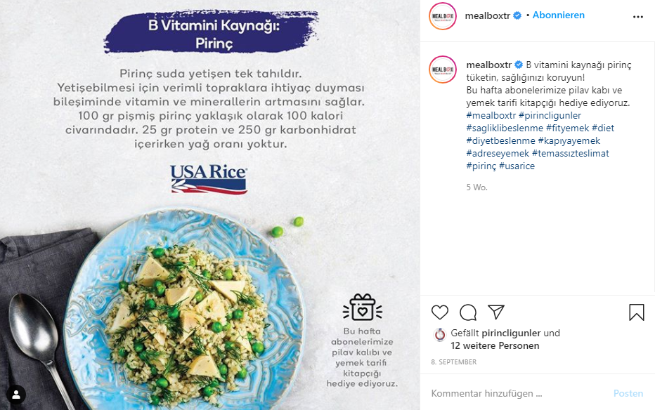 Instagram post with rice dish on blue plate below USA Rice logo