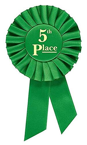 "Green ribbon with ""5th Place "" written in gold text in the center"