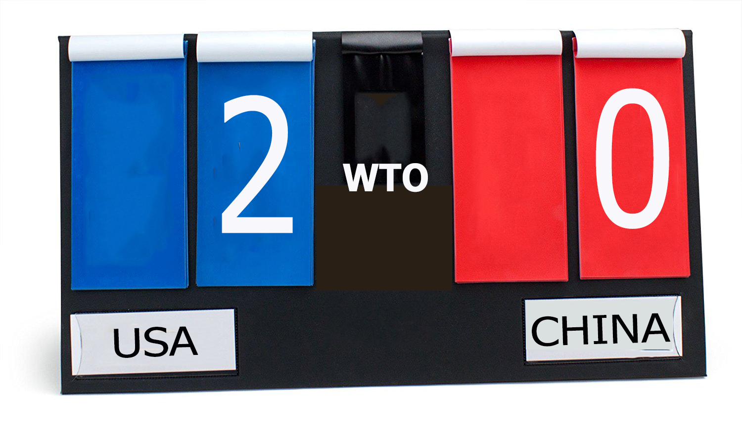 """Scoreboard with USA written underneath a """"2"""" on blue background, and a """"0"""" on a red background with China written underneath"""
