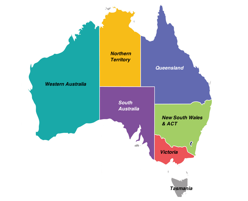 Colorful State Map of Australia