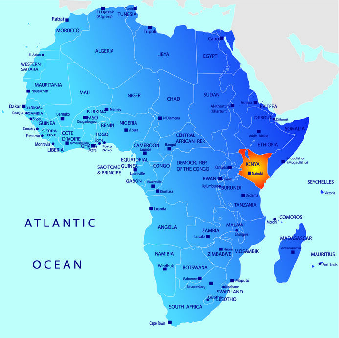 Map of Africa with Kenya delineated in orange