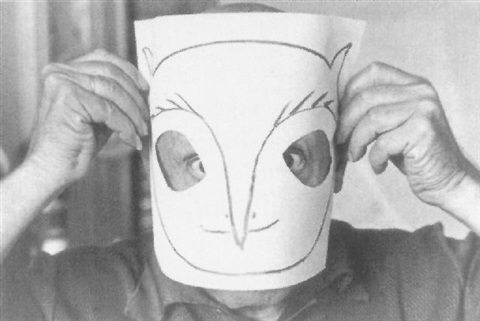 David Douglas Duncan black & white photo of Picasso wearing paper bird mask