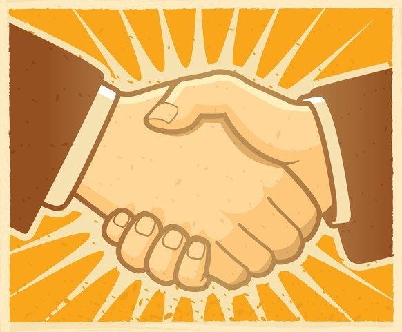 Drawing of hand shake between two people wearing brown business suits on yellow background with white sunburst emanating from hands
