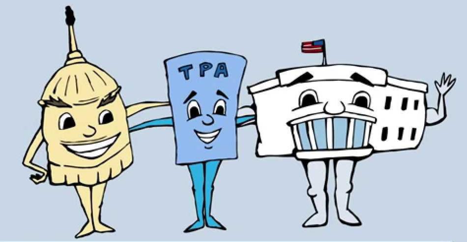 TPA cartoon shows US Capitol + TPA + White House