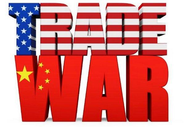 """Words """"Trade War"""" with TRADE in stars & stripes and WAR in red w/yellow stars"""