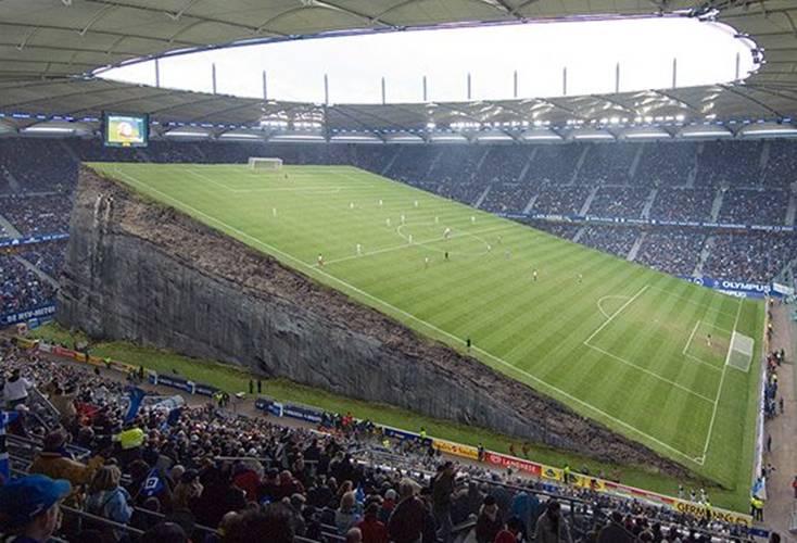 Uneven playing field inside stadium