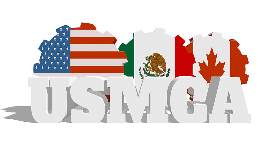 US, Mexico, and Canada flags in gear shapes behind initials USMCA