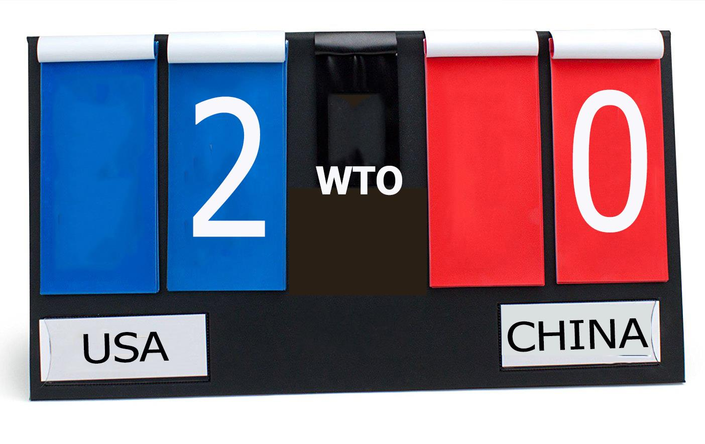 "Scoreboard with USA written underneath a ""2"" on blue background, and a ""0"" on a red background with China written underneath"