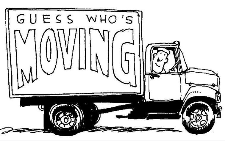 Black and white drawing of moving van with man looking out of truck cab