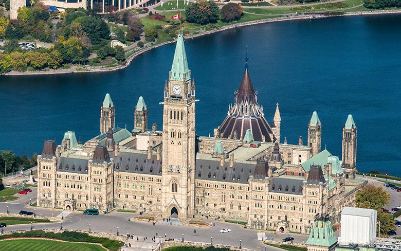 Aerial photo of Canadian Parliament buidling in Ottawa