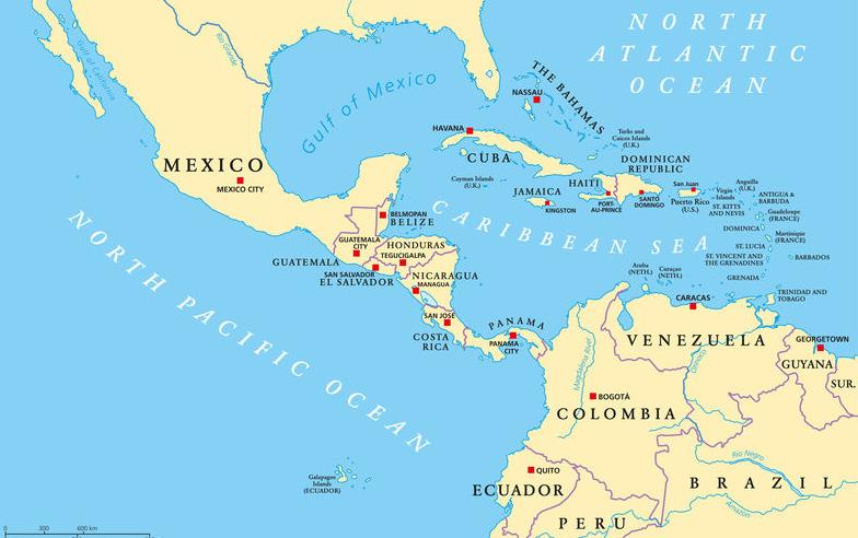Map of Central America & northern tier of South America