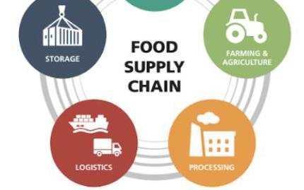 Food Supply Chain diagram with five logos representing foodservice, ag, processing, transportation, and storage, inside different colored circles