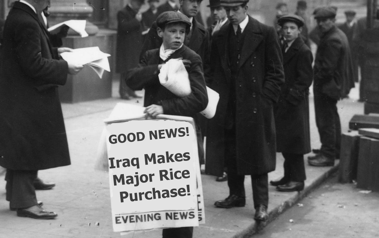 "Black and white vintage photo of newsboy standing on street corner hawking papers with text ""Good News! Iraq Makes Major Rice Purchase!"""