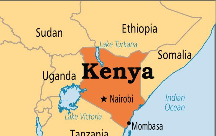 Map of east Africa with Kenya delineated in orange