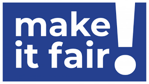 Make It Fair text in white on blue background