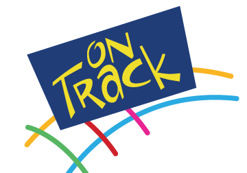"Blue box with ""On Track"" in yellow on top of colorful train track graphic"