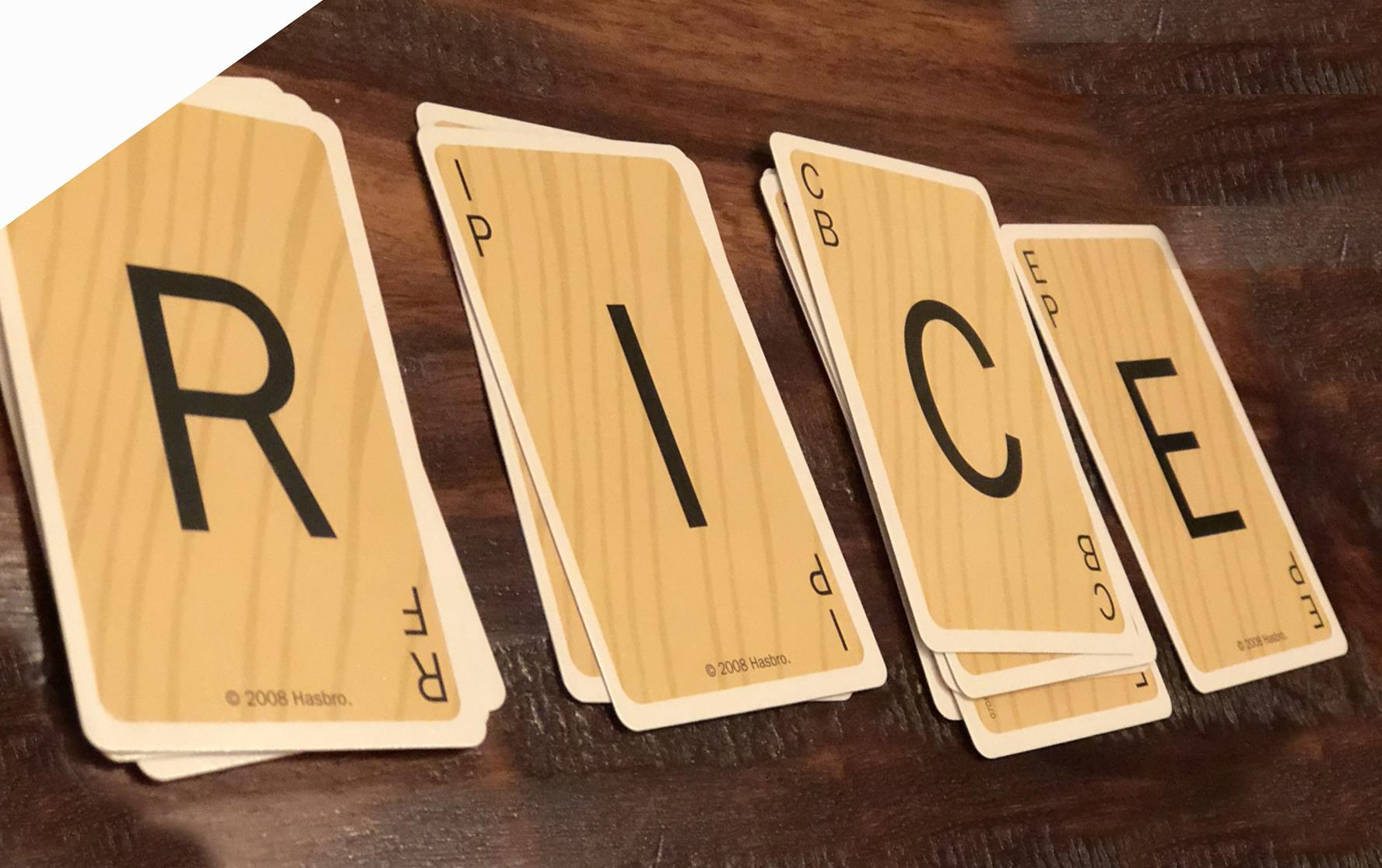 Playing cards spell out R-I-C-E