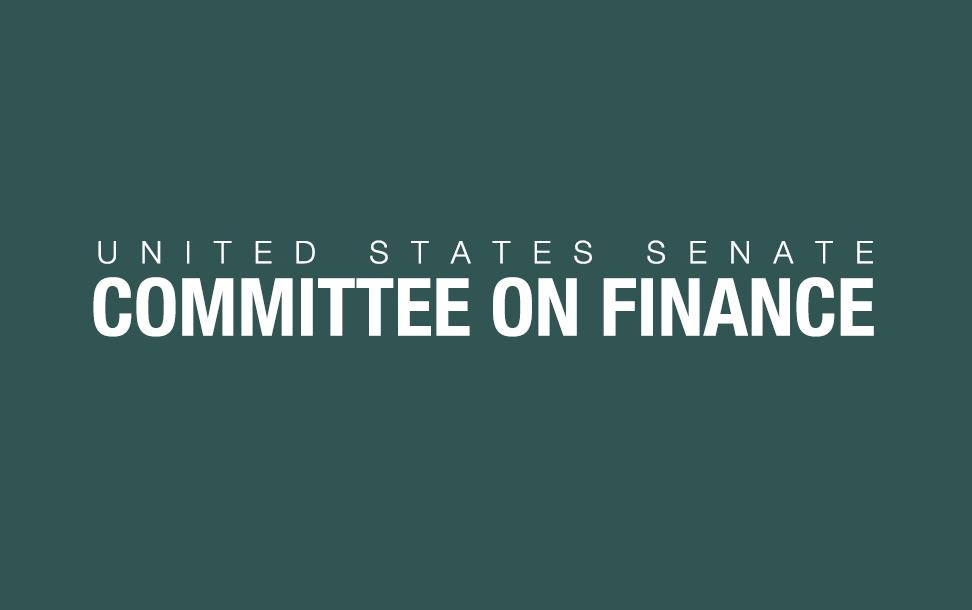 US Senate Committee on Finance, white text on gray background