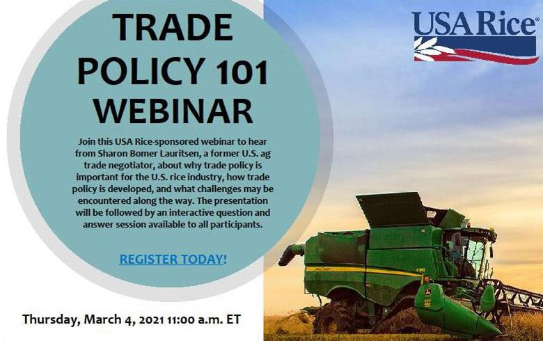 Trade Policy Webinar invite includes photo of green combine, USA Rice logo, and text inside a blue/green circle
