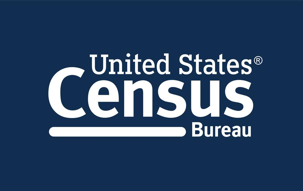 US Census Bureau logo, white text on dark blue background