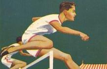 Vintage poster shows two men jumping hurdles at outdoor track meet with crowd in background