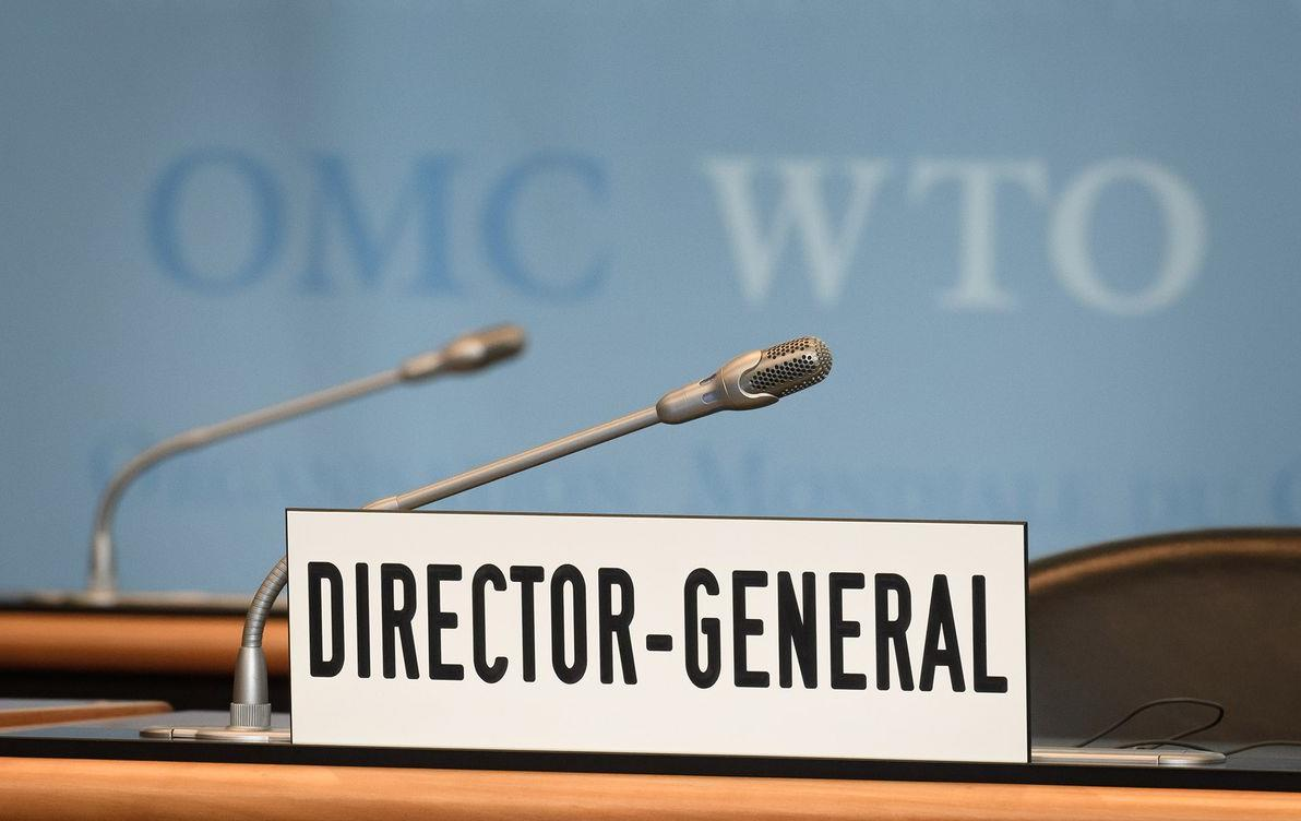 WTO Director General nameplate on desk in front of microphone