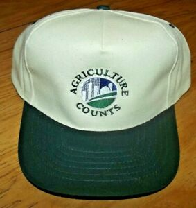 "White baseball cap with text reading ""Agriculture Counts"""