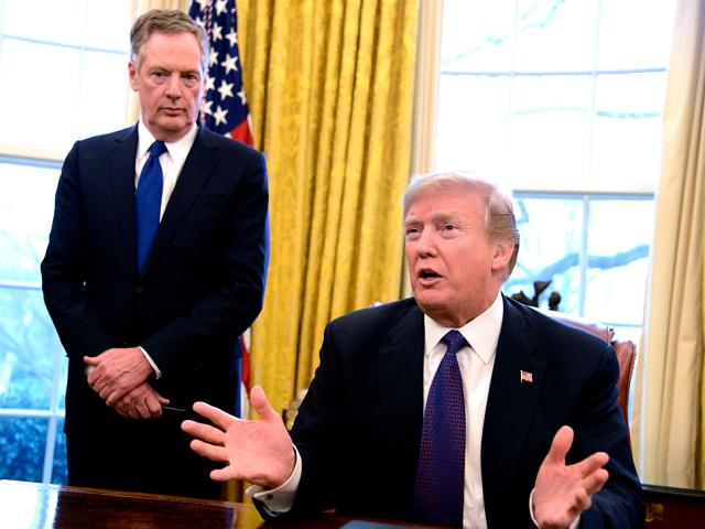 USTR Robert Lighthizer stands behind President Donald Trump in Oval Office