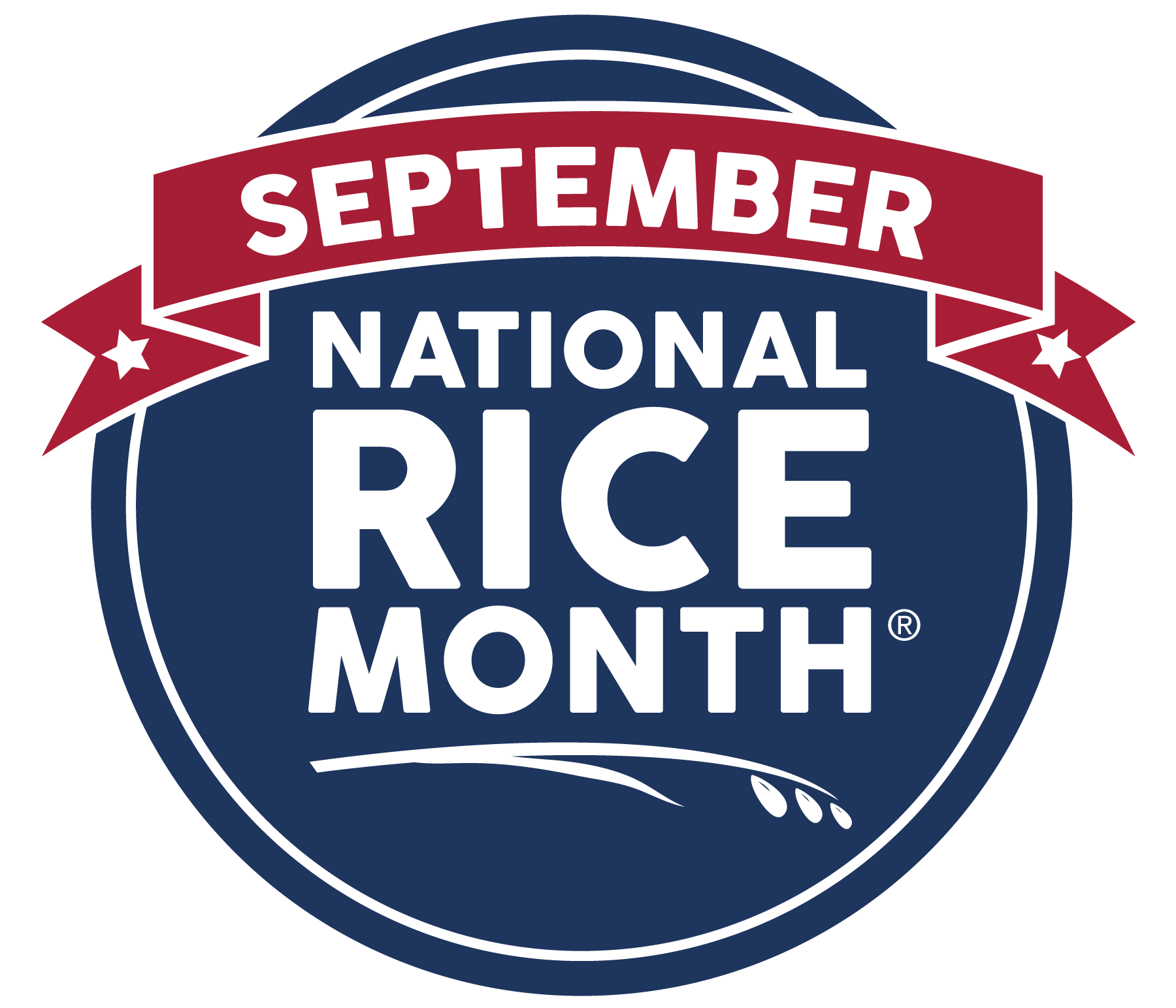National Rice Month Logo, blue circle with white text and red banner across the top