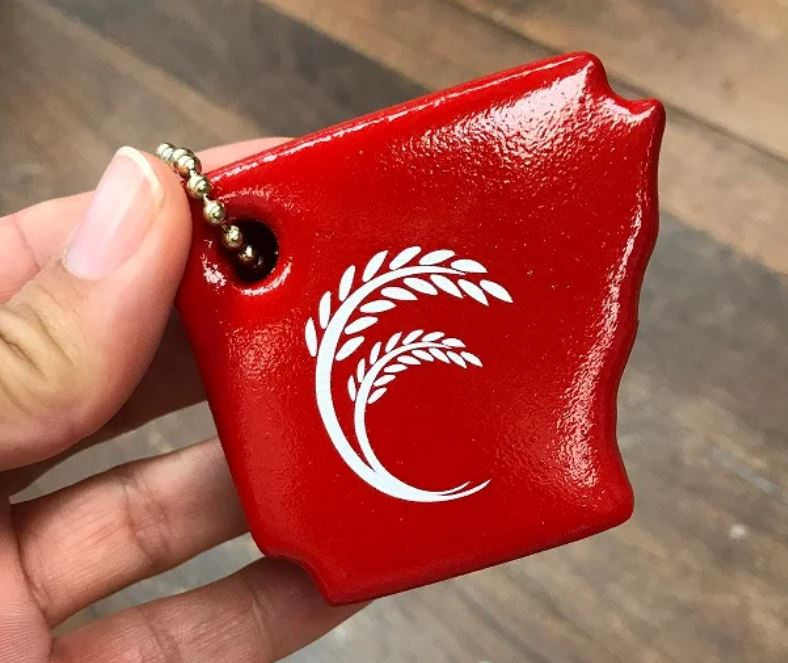 AR Rice keychain, red with white rice panicle