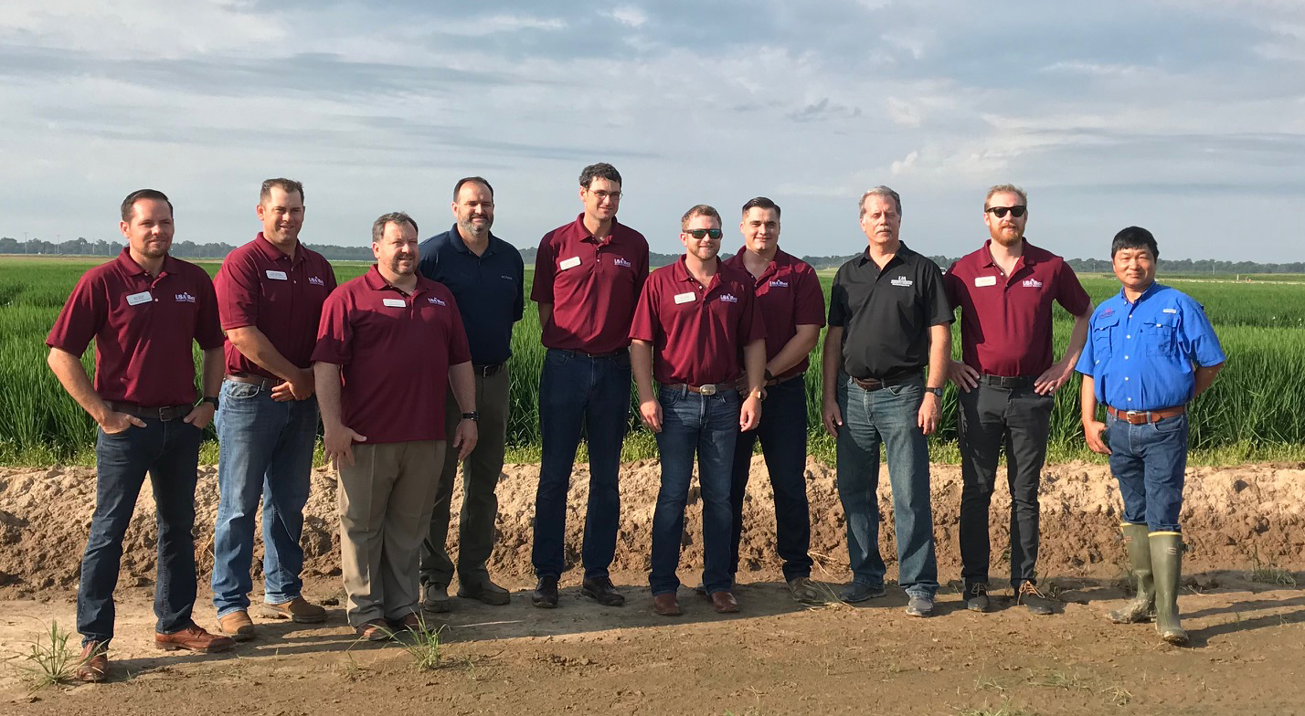Maroon shirts are Rice Leadership Class members, others are Arkansas Rice Research Center staff.