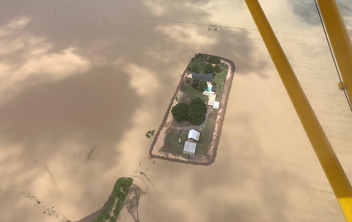 Aerial photo of historic 2021 flooding in Arkansas