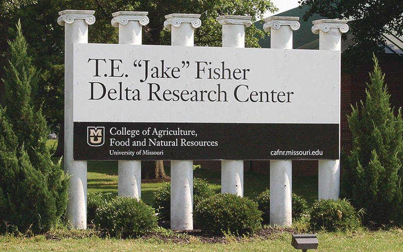 "T.E. ""Jake"" Fisher Delta Research Center sign with pillars"