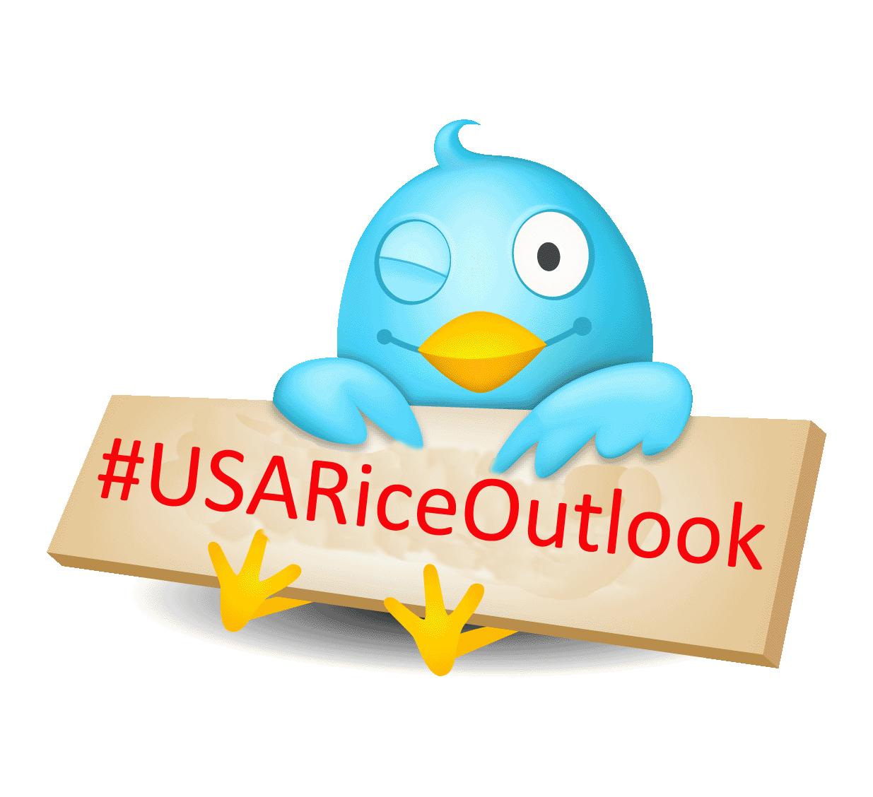 Twitter bird holding #USARiceOutlook sign