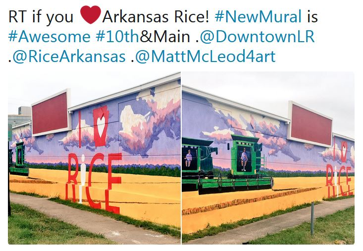 AR Rice Mural painted on building downtown, combine in a rice field