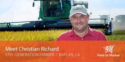 LA Farmer Christian Richard in front of combine