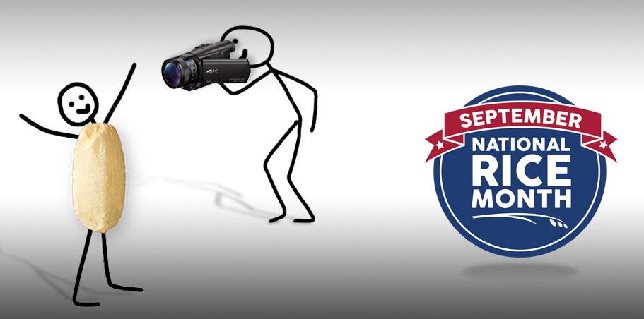 Stick figure shoots video of stick figure rice grain w/September NRM logo