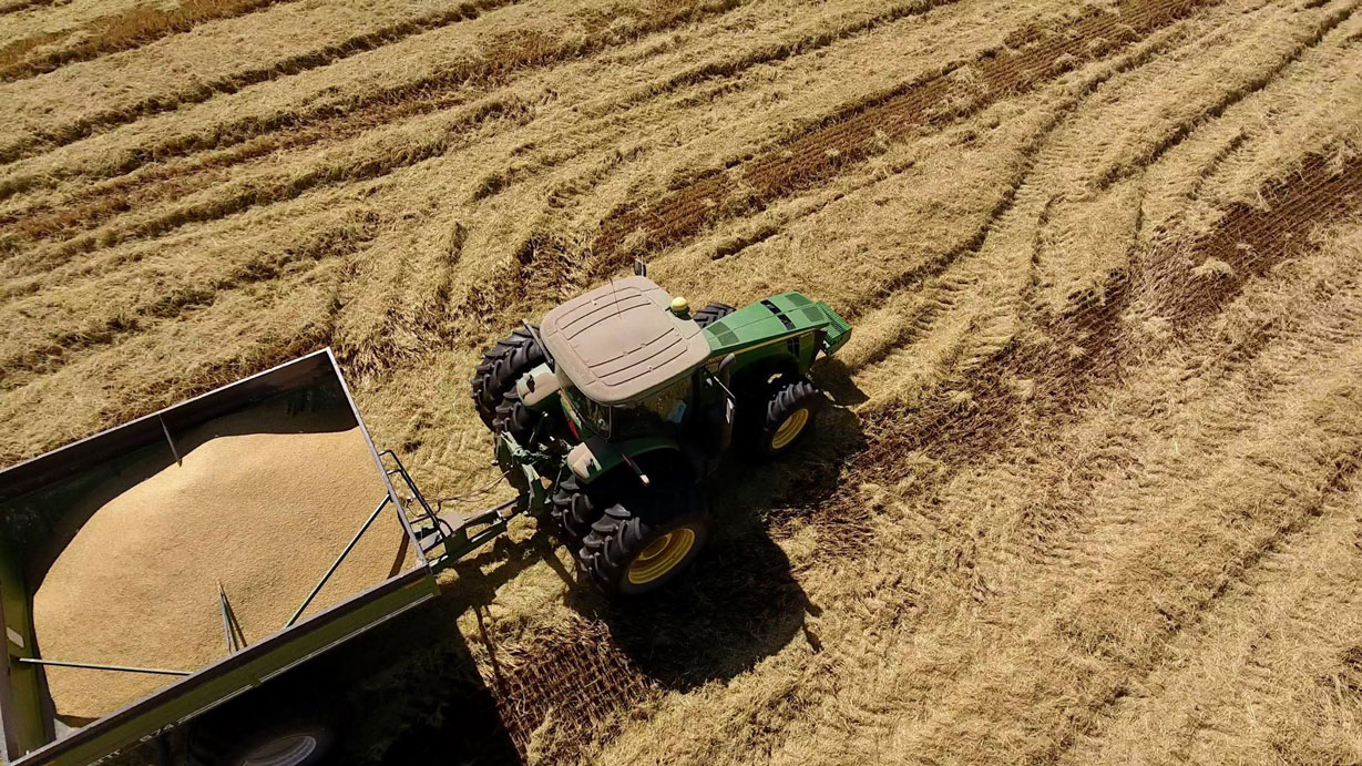 Overhead shot of tractor pulling grain cart in harvested field
