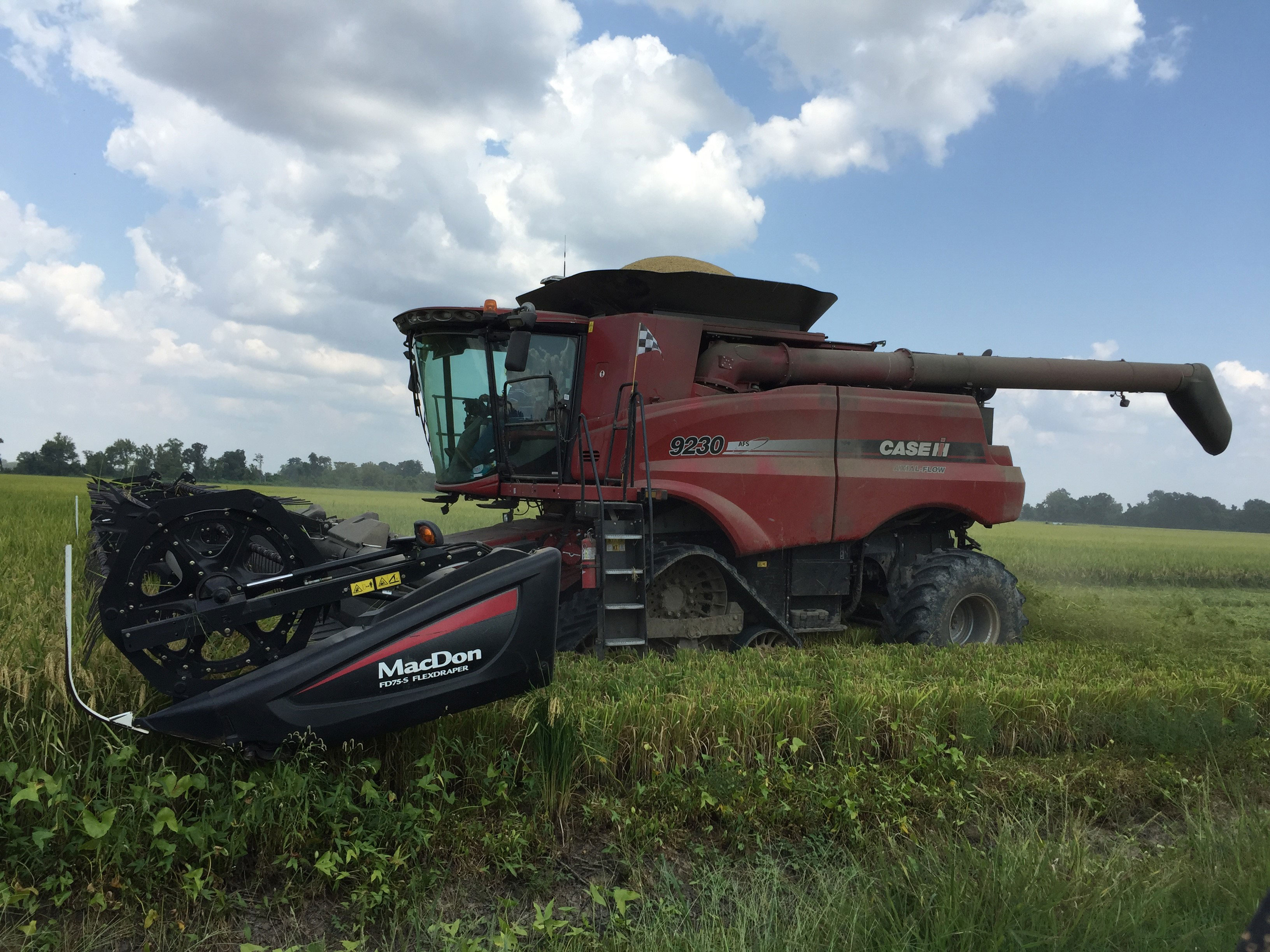 USA Rice intern and AR farmer William-Mencer-Driving-a-Case Combine