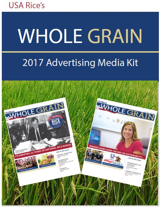 Cover of the Whole Grain Ad Kit with open newpapers in a rice field