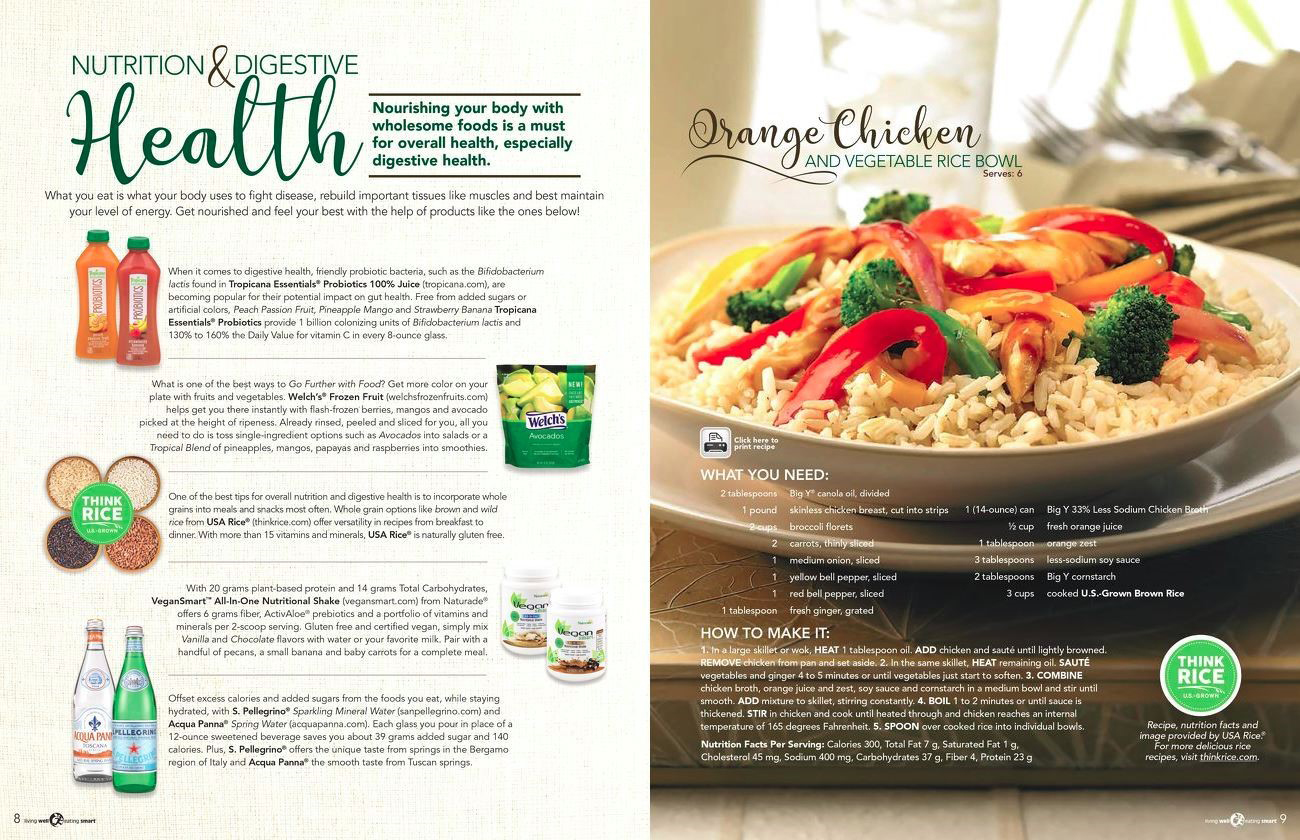 Big Y Newsletter post March 2018, left side mostly text, right side photo of chicken, veggies & rice dish