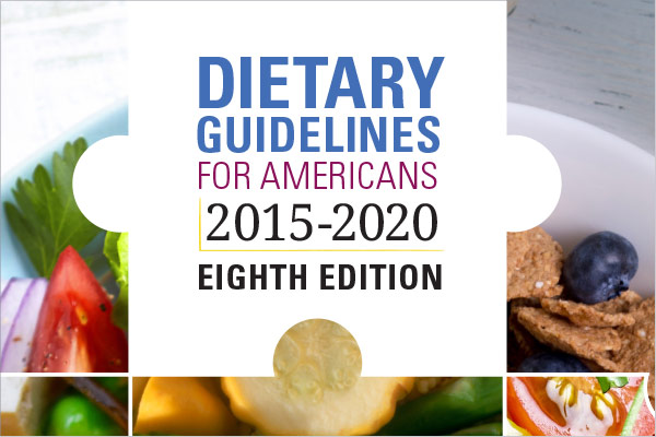 2015-2020 Dietary Guidelines Cover shows photos of different foods: tomatoes, blueberries, squash, onion