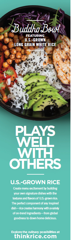 """Magazine ad with colorful rice bowl & the message """"Plays Well With Others"""""""